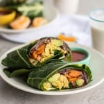 Black Bean Butternut Breakfast Burrito Collard Wraps
