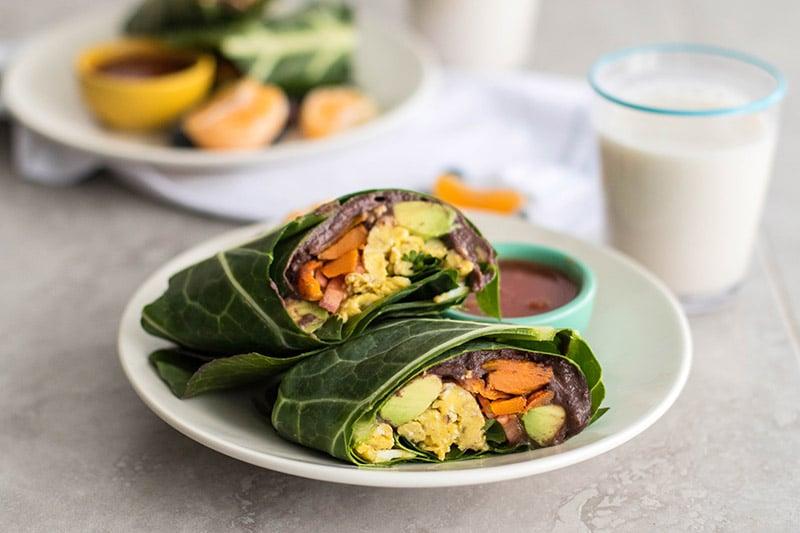 Breakfast Burrito Collard Green Wraps