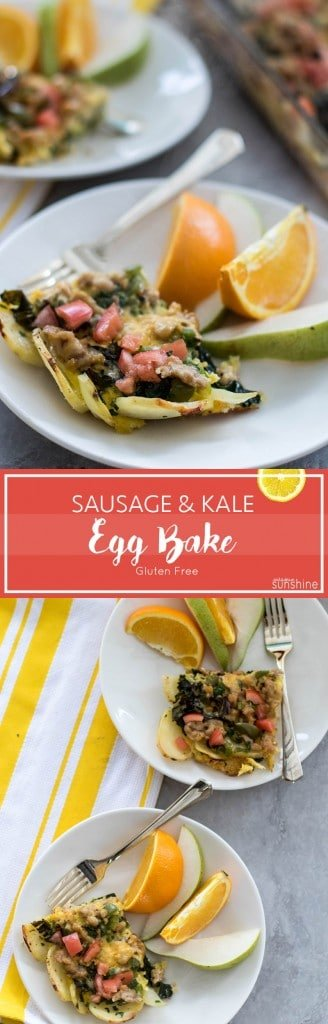 Sausage Kale Egg Bake / A high protein, healthy breakfast bake to share with a crowd or for make-ahead breakfasts.