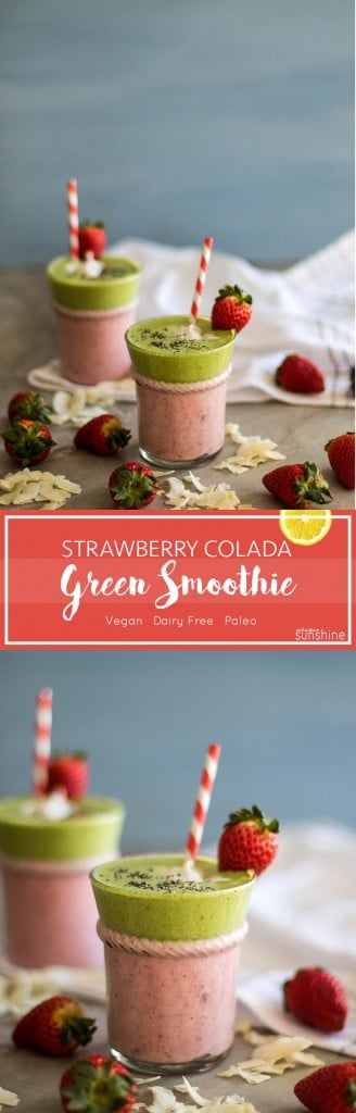 Strawberry Colada Green Smoothie / The perfect way to sneak some greens into your Valentine <3