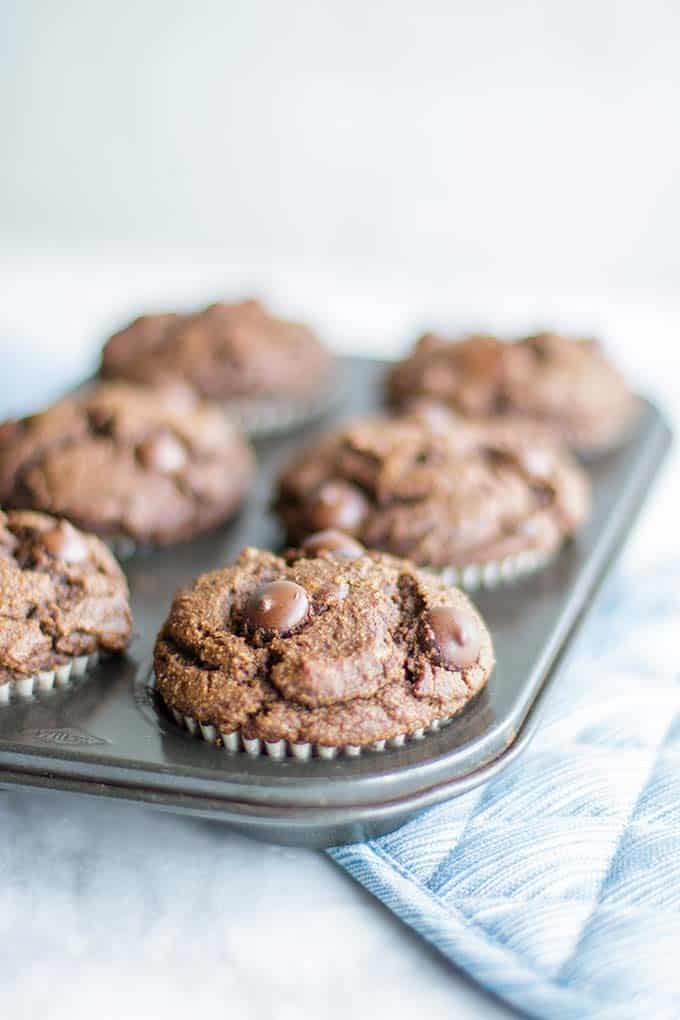 Healthy double chocolate chip muffins baked and in a muffin tin.