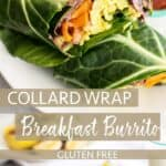A close up view of the ingredients inside a collard wrap breakfast burrito.