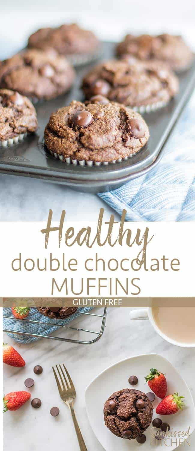 Two images showing gluten free double chocolate chip muffins in a muffin tin, and on a cooling rack.