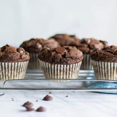 Gluten Free Double Chocolate Chip Muffins (No Sugar Added)