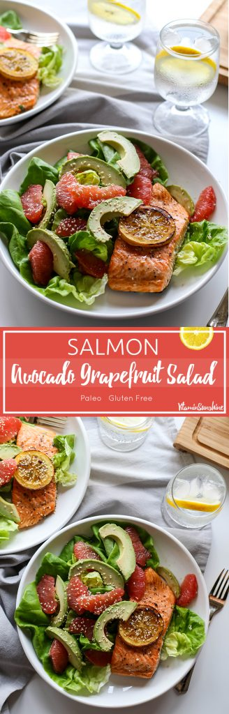 Salmon Grapefruit Avocado Salad / This superfood combination is sure to rev your metabolism and get you ready for spring.