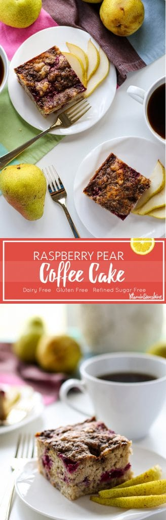 Raspberry Pear Coffee Cake / This beautiful and moist gluten free coffee cake is full with sweet pears and tart raspberries. The perfect brunch dish!