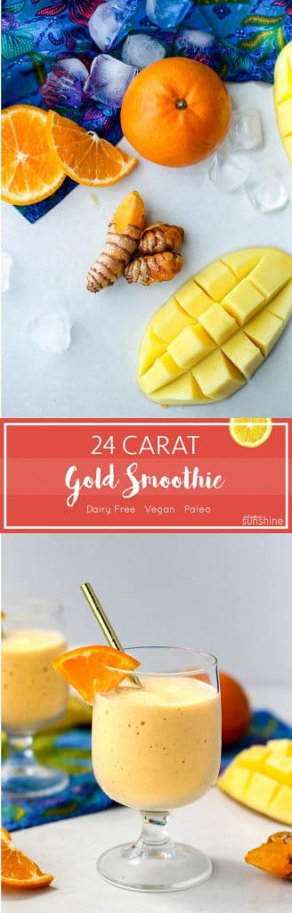 24 Carat Gold Smoothie / This turmeric and ginger superfoods smoothie is sweet and spicy, with powerful anti inflammatory ingredients.