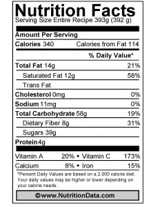 24 Carat Gold Smoothie Nutrition Facts