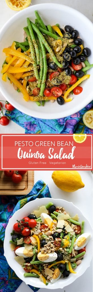 Pesto Green Bean Quinoa Salad / This Mediterranean inspired salad is packed with vegetarian proteins, cannelini beans and quinoa, and full of flavor and crunch. The perfect lunch or light dinner!