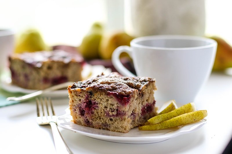 Raspberry Pear Coffee Cake (Gluten Free)