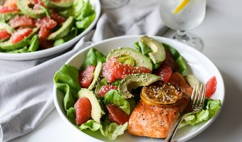 Salmon Grapefruit Avocado Salad with Shallot Tarragon Vinaigrette