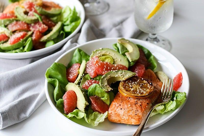Salmon Grapefruit Avocado Salad with Shallot Tarragon Vinaigrette