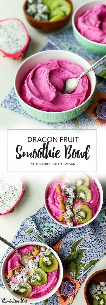 A thick pitaya bowl smoothie topped with kiwi, white dragon fruit, almonds and coconut.