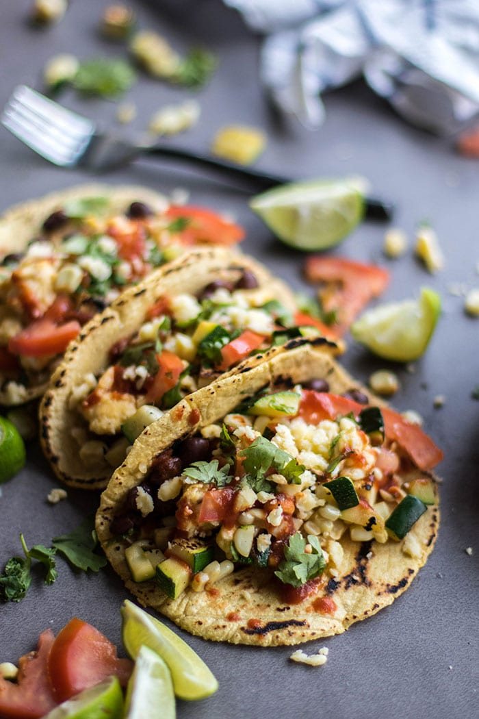 Breakfast Tacos with Black Beans and Veggies / My favorite breakfast of all time, hands down! Fresh veggies, tons of spicy salsa and cilantro. Healthy, high protein, and gluten free.