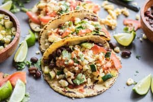 Breakfast Tacos with Black Beans and Veggies