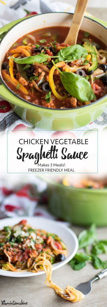 Chicken Vegetable Spaghetti Sauce / This hearty and protein-rich chicken spaghetti sauce is a recipe for 3 meals-- one for tonight, and 2 to freeze! So easy, and so nice to have quick and healthy meals ready to go.