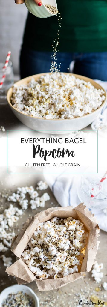 A long image showing everything bagel popcorn in a bag and in a bowl.