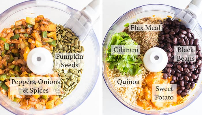 Two shots of a food processor bowl filled with all the ingredients for these healthy vegan veggie burgers.