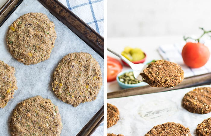 Veggie burgers shown baked on a cookie sheet.