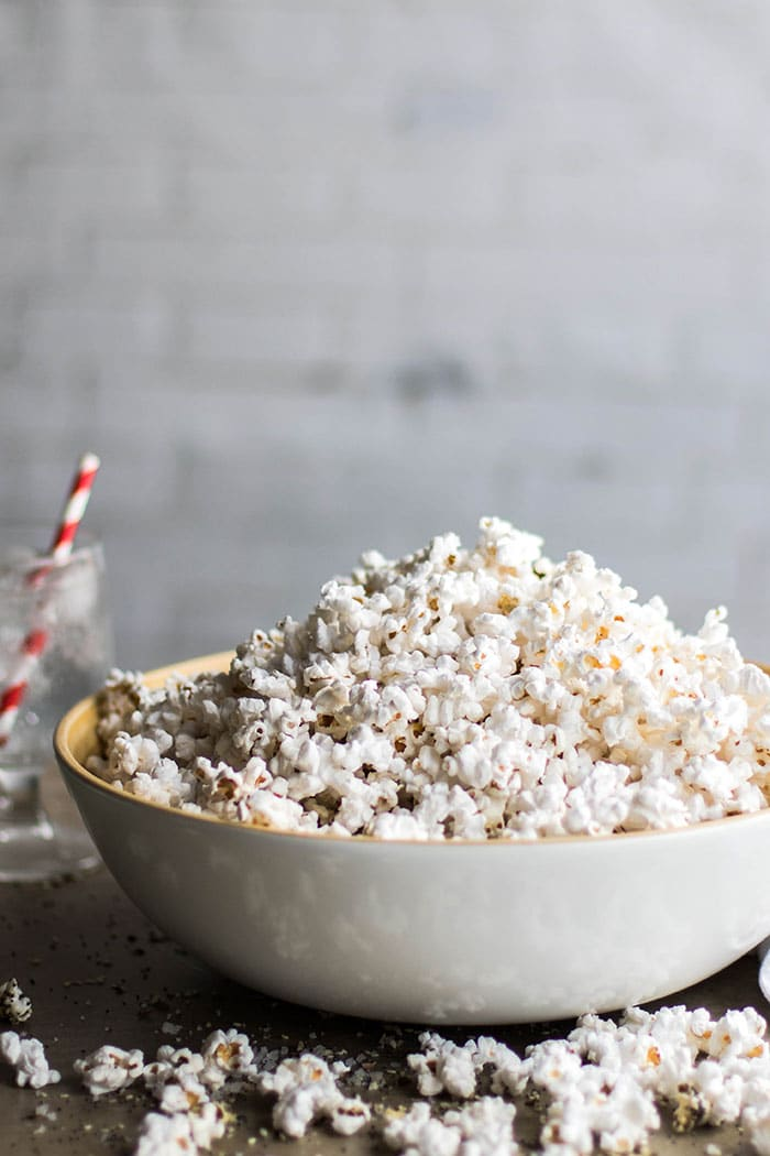 A large bowl of plain popcorn.