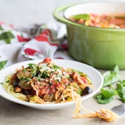 Chicken Vegetable Spaghetti Sauce (Freezer Friendly Meal Series)