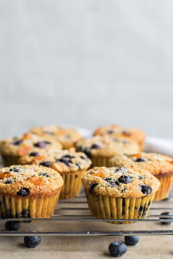 Blueberry Apricot Oat Bran Muffins / These protein and fiber rich muffins are so soft and moist. I packed mine with blueberries and apricots, but so many variations could be made!