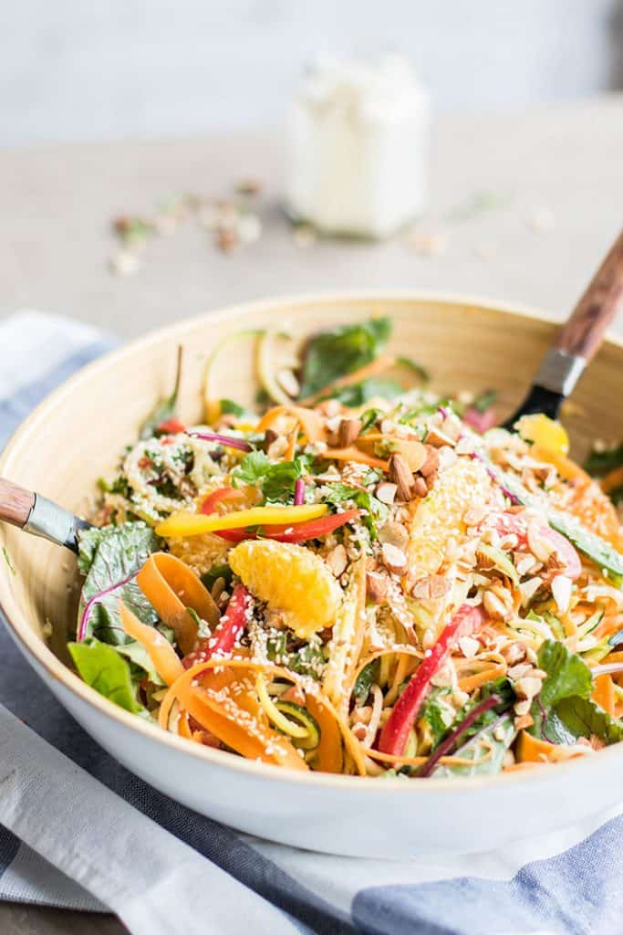 Asian Orange Sesame Zoodle Salad / This fun salad is bursting with flavor, crunch, and color. This makes a fabulous low carb sub for noodle dishes.