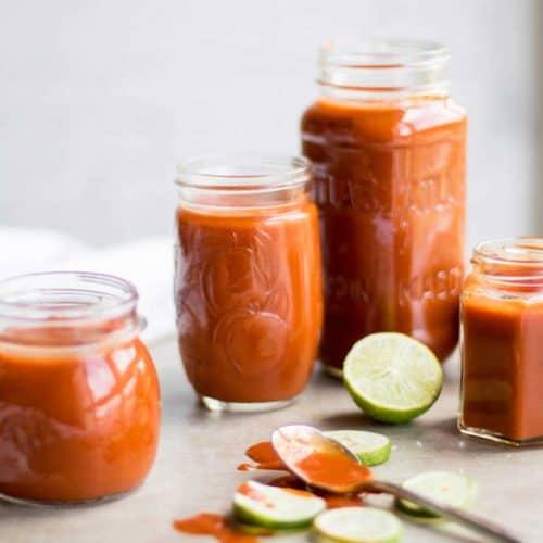 Homemade enchilada Sauce in jars.