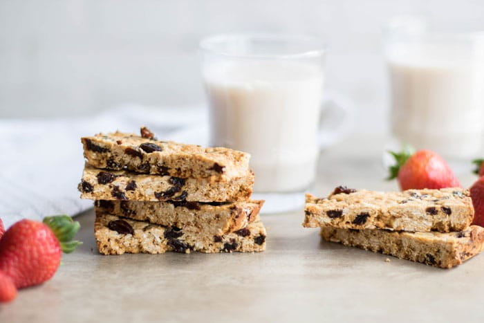 Oatmeal Raisin Cookie Protein Bars / The perfect on-the-go snack or breakfast. Healthy ingredients, fast to make!