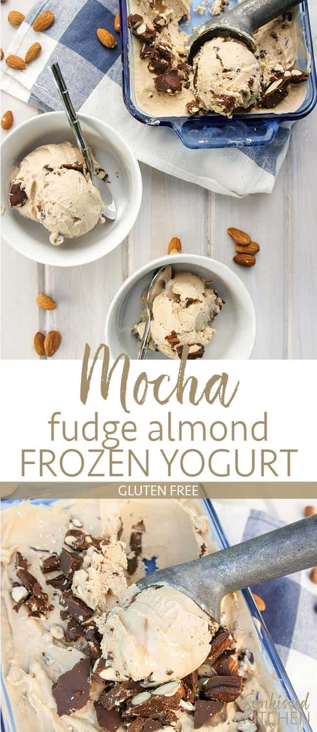 Two images showing scoops of mocha fudge almond greek frozen yogurt in bowls and in a large container with an ice cream scoop.