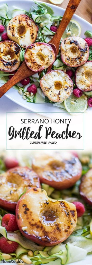 Serrano Honey Grilled Peaches / This simple summer salad is made with sweet grilled peaches and topped with a sweet and spicy vinaigrette.