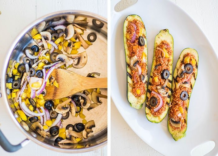 Grilled Quinoa Pizza Zucchini Boats / Have fun with a vegetarian entree on the BBQ this summer. Zucchini is stuffed with a 1-pan quinoa pizza recipe.