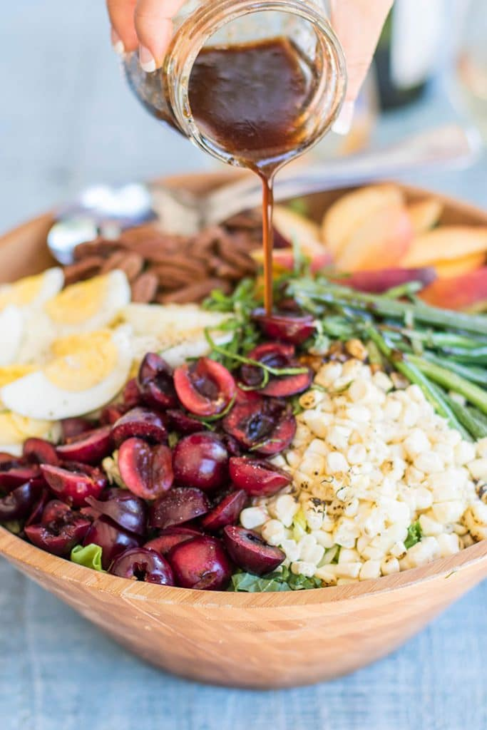 Cherry and Peach Salad / This salad is a celebration of summer produce-- green beans, sweet corn, cherries and peaches are the stars of the show.