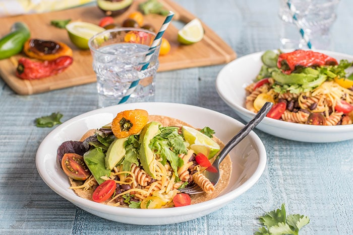 Vegetarian Taco Salad / This summery taco salad gets a fun twist from high protein, gluten free Chickapea pasta.