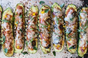 Grilled Quinoa Pizza Zucchini Boats (Summer Grilling Series)