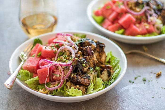 Watermelon Balsamic Chicken Salad Sunkissed Kitchen
