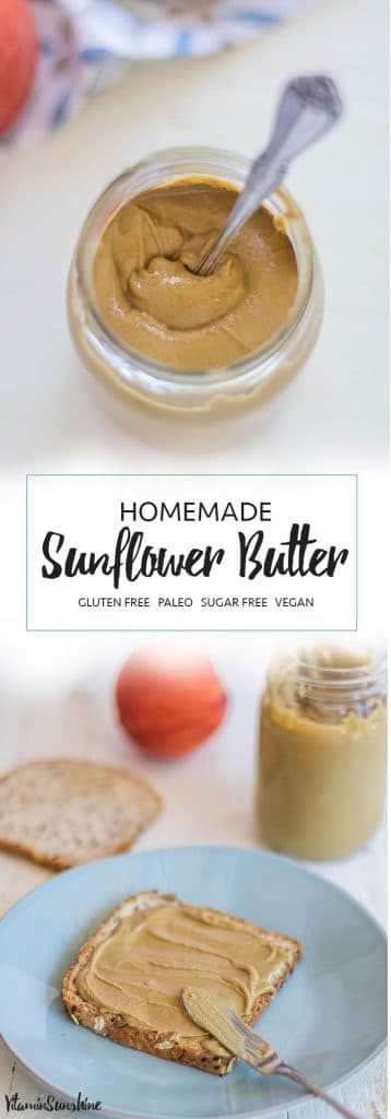 Homemade Sunflower Butter / Making sunflower seed butter at home is easy with a high speed blender or food processor.