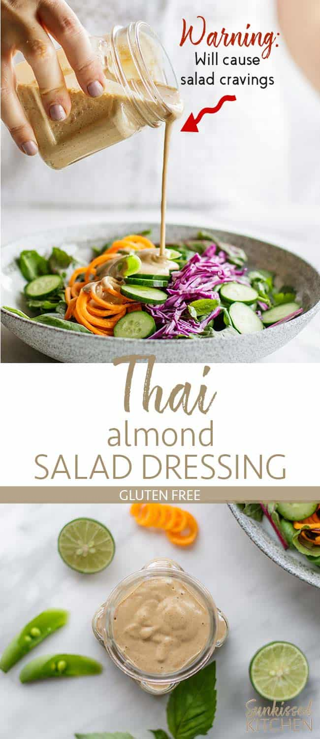 Two images showing a healthy salad with greens, cabbage, and carrots, being drizzled with Spicy Thai almond salad dressing.