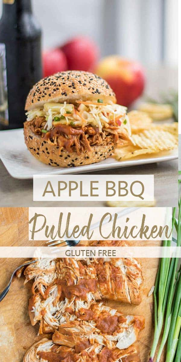 Chicken being shredded on a cutting board, and an apple bbq pulled chicken sandwich on a plate.