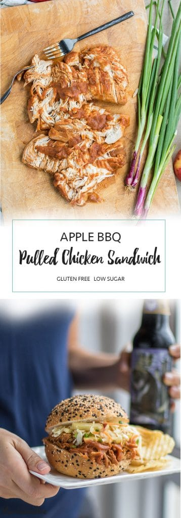 Apple BBQ Pulled Chicken Sandwich / This delicious sandwich is made with a low sugar apple BBQ sauce, and topped with a tangy apple slaw.