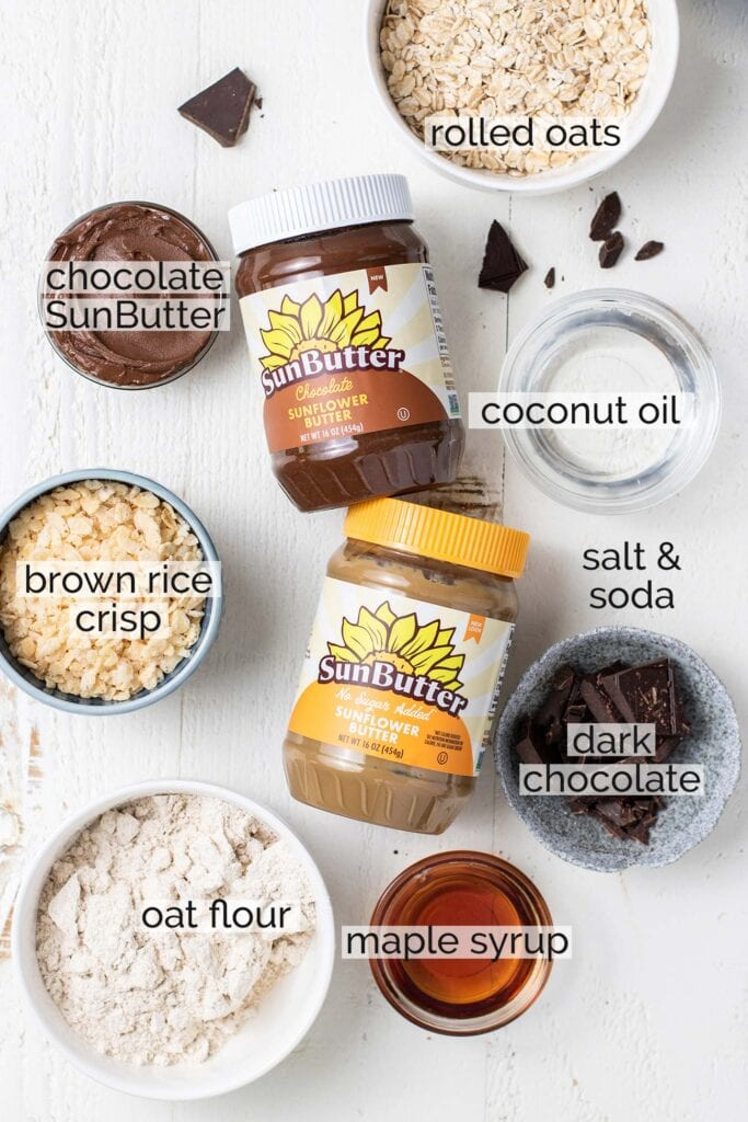 The ingredients needed for sunbutter cookies shown with labels.