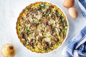 Sweet Potato Frittata with Spinach and Caramelized Onions