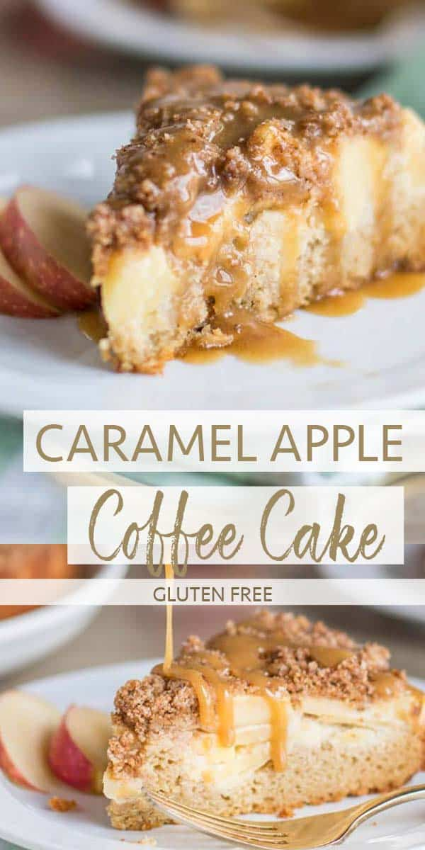 Two slices of apple coffee cake being drizzled with sea salt caramel sauce.