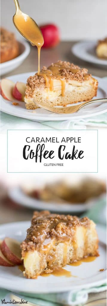 Caramel Apple Coffee Cake / This gluten free coffee cake is packed with apples and cinnamon, and topped with a delicious salted caramel sauce.