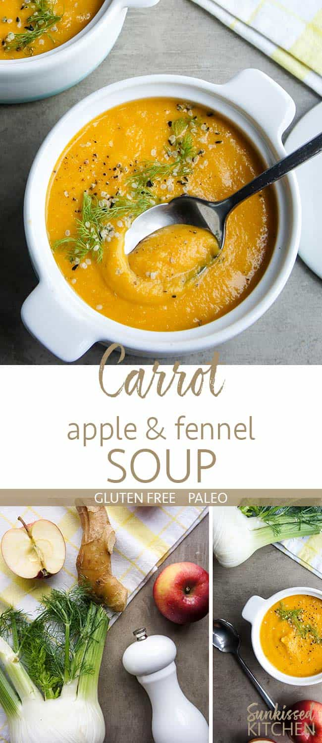 Two images showing bowls of carrot apple fennel soup, garnished with hemp seeds.