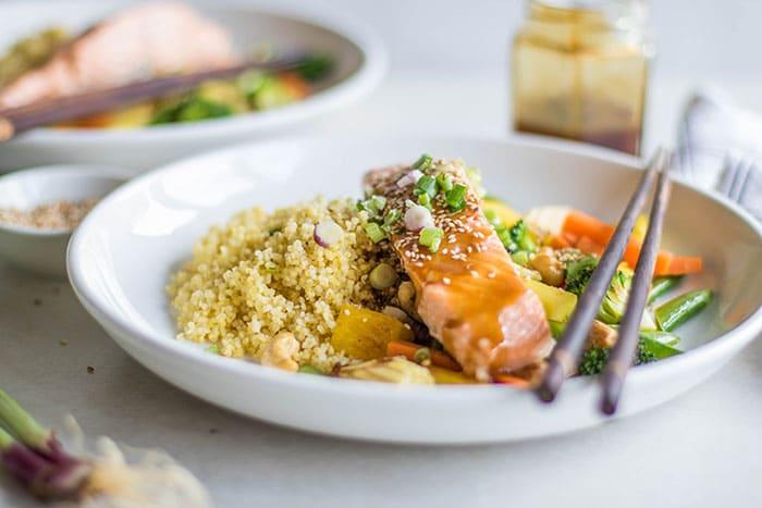 Teriyaki Salmon Millet Bowls