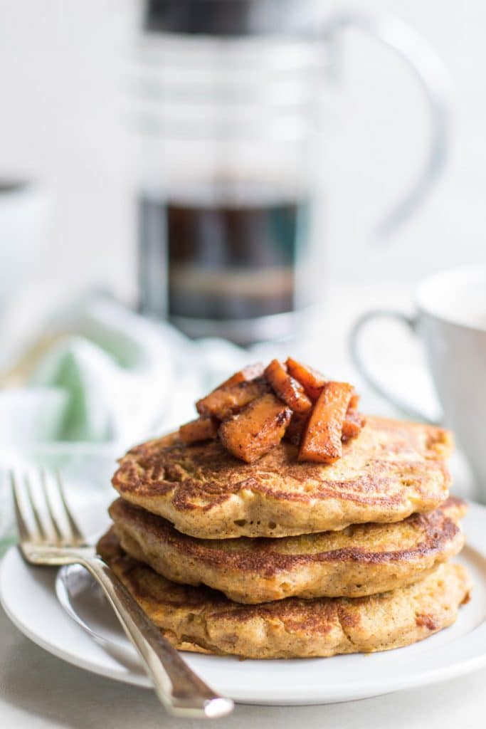 Gluten Free Pancakes / These gluten free pancakes are a great vegetable breakfast. Fall pancakes healthy pancakes