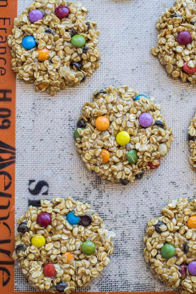 Monster Cookie Recipe / These gluten free and nut free monster cookies are great for school parties! A classic Halloween Cookie made healthier.