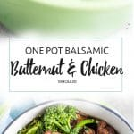 One Pot Balsamic Butternut and Chicken / This one pot meal is the perfect Whole30 dinner.