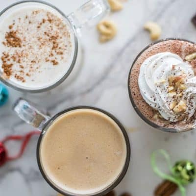 Trio of Healthy Holiday Drinks / Hazelnut Hot Cocoa, Vegan Eggnog, and a Pecan Toffee Latte, all made with fresh nut milks!